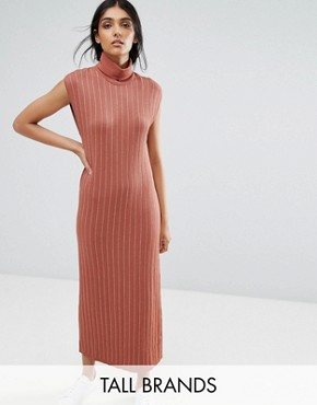 photo Fiesta Knit High Neck Maxi Dress by ADPT Tall, color Copper Brown - Image 1