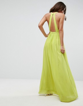 photo Plunge Front Maxi Dress by True Decadence Tall, color Lime - Image 2