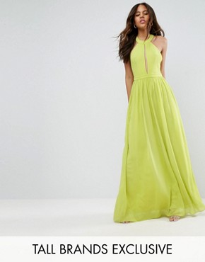 photo Plunge Front Maxi Dress by True Decadence Tall, color Lime - Image 1