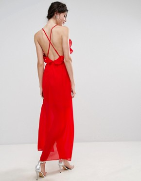 photo Frill Detail High Low Midi Dress with Strappy Back by True Decadence Tall, color Red - Image 2