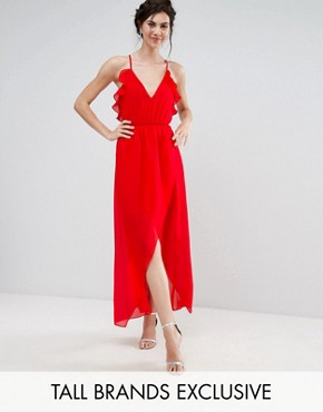 photo Frill Detail High Low Midi Dress with Strappy Back by True Decadence Tall, color Red - Image 1
