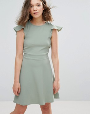 photo Skater Dress with Frill Sleeve and Open Back by Daisy Street, color Pale Green - Image 2