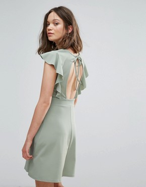 photo Skater Dress with Frill Sleeve and Open Back by Daisy Street, color Pale Green - Image 1
