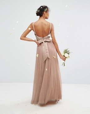 photo Embellished Tulle Maxi Dress by Maya, color Mink - Image 2
