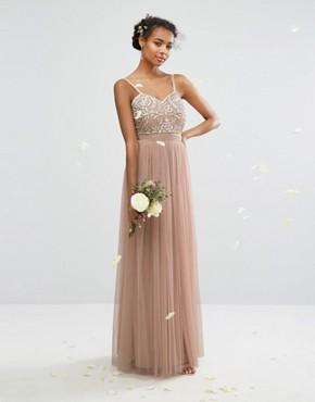 photo Embellished Tulle Maxi Dress by Maya, color Mink - Image 1