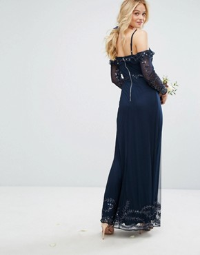 photo Long Sleeve Cold Shoulder Maxi Dress by Maya, color Navy - Image 2
