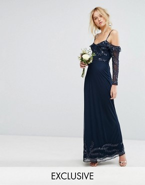 photo Long Sleeve Cold Shoulder Maxi Dress by Maya, color Navy - Image 1
