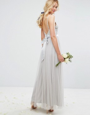 photo Embellished Tulle Maxi Dress by Maya, color Grey - Image 2
