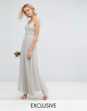 photo Embellished Tulle Maxi Dress by Maya, color Grey - Image 1
