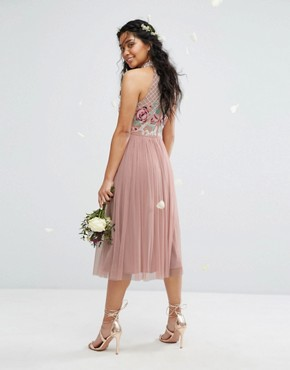 photo High Neck Embroidered Rose Tulle Midi Dress by Maya, color Pale Mauve - Image 2