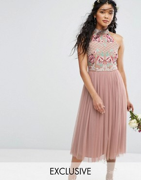 photo High Neck Embroidered Rose Tulle Midi Dress by Maya, color Pale Mauve - Image 1