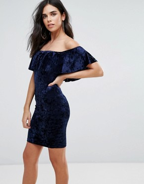 photo Velvet Midi Dress with Frill Overlay by Love & Other Things, color Navy - Image 1