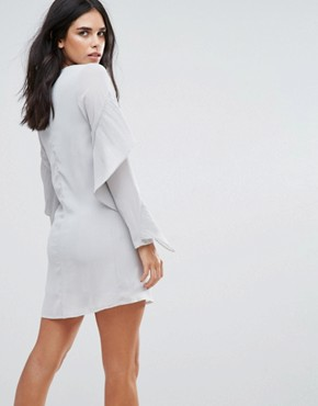 photo Frill Sleve Shift Dress by Love & Other Things, color Grey - Image 2