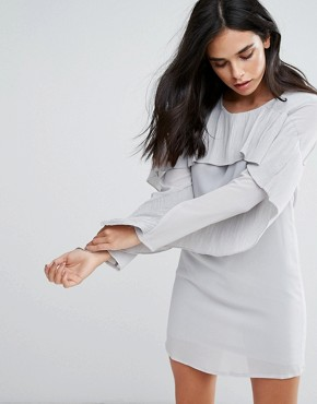 photo Frill Sleve Shift Dress by Love & Other Things, color Grey - Image 1