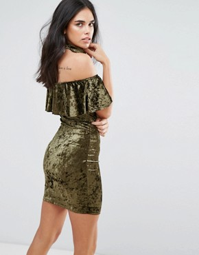 photo Choker Neck Velvet Midi Dress with Frill Overlay by Love & Other Things, color Khaki - Image 2