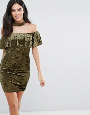 photo Choker Neck Velvet Midi Dress with Frill Overlay by Love & Other Things, color Khaki - Image 1