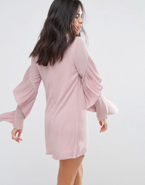 photo Frill Sleve Shift Dress by Love & Other Things, color Pink - Image 2