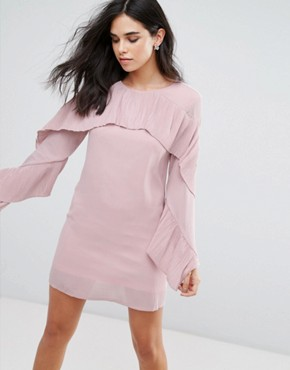 photo Frill Sleve Shift Dress by Love & Other Things, color Pink - Image 1