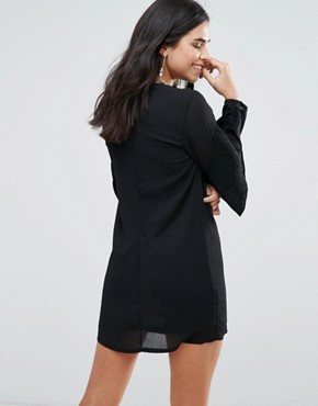 photo Frill Sleve Shift Dress by Love & Other Things, color Black - Image 2
