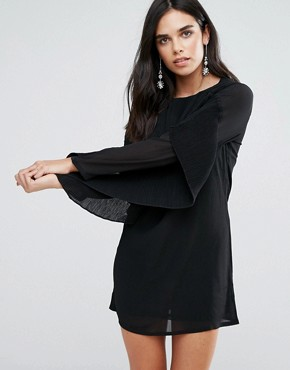 photo Frill Sleve Shift Dress by Love & Other Things, color Black - Image 1