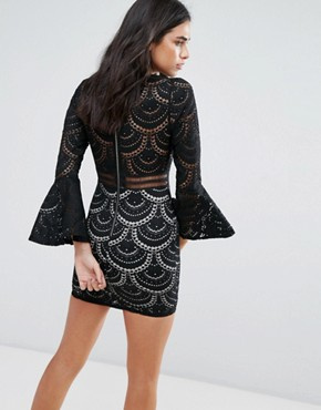 photo Flute Sleeve Lace Mini Dress by Love & Other Things, color Black - Image 2