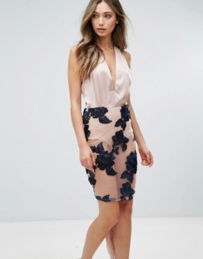 photo Midi Dress with Embroidered Skirt by Love & Other Things, color Blue - Image 1