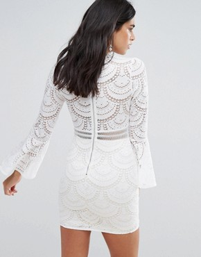 photo Flute Sleeve Lace Mini Dress by Love & Other Things, color White - Image 2