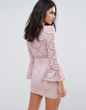 photo Flute Sleeve Lace Mini Dress by Love & Other Things, color Pink - Image 2