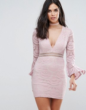 photo Flute Sleeve Lace Mini Dress by Love & Other Things, color Pink - Image 1