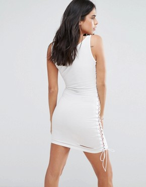 photo Band T-Shirt Dress with Lace Up Side by Love & Other Things, color White - Image 2