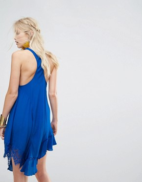 photo Asymmetrical Lace Hem Dress by Free People, color Blue - Image 2