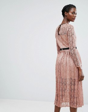 photo Lace Midi Dress with Pleated Skirt by Endless Rose, color Blush Pink/Black - Image 2
