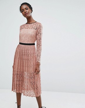 photo Lace Midi Dress with Pleated Skirt by Endless Rose, color Blush Pink/Black - Image 1
