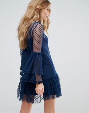 photo High Neck Swing Dress in Spot Mesh by Lace & Beads, color Navy - Image 2