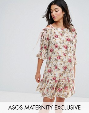 photo Lace Up Shoulder Floral Dress by ASOS Maternity, color Multi - Image 1
