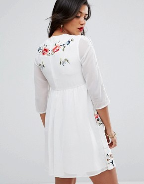 photo Midi Skater Dress with Floral Embroidery by ASOS Maternity PREMIUM, color White - Image 2