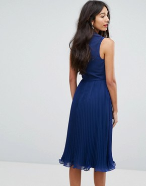 photo Sleeveless Lace Insert Midi Dress by ASOS TALL, color Blue - Image 2