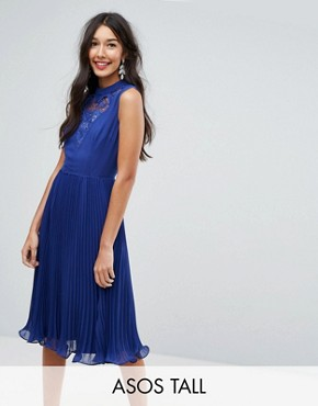 photo Sleeveless Lace Insert Midi Dress by ASOS TALL, color Blue - Image 1