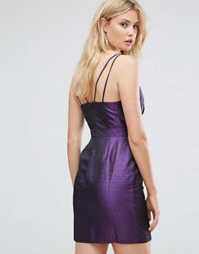 photo Mini Metallic Hook & Eye Dress by ASOS TALL 80's, color Purple - Image 2