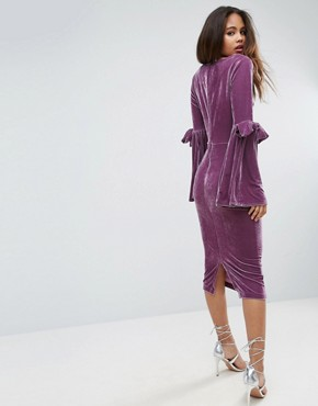 photo Velvet Flute Sleeve Midi Dress by ASOS TALL, color Dusky Purple - Image 2