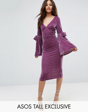 photo Velvet Flute Sleeve Midi Dress by ASOS TALL, color Dusky Purple - Image 1