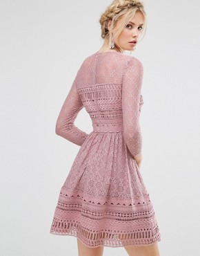 photo Lace Skater Dress by ASOS TALL PREMIUM, color Mink - Image 2