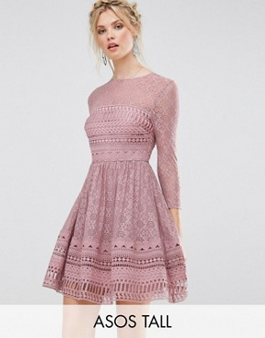 photo Lace Skater Dress by ASOS TALL PREMIUM, color Mink - Image 1
