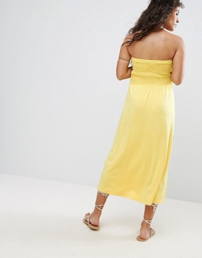 photo Beach Bandeau Midi Dress by ASOS Maternity, color Yellow - Image 2