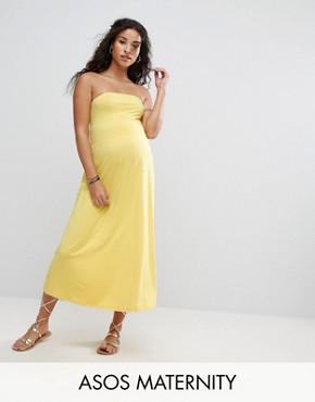 photo Beach Bandeau Midi Dress by ASOS Maternity, color Yellow - Image 1