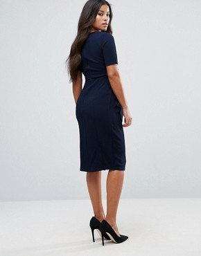 photo Double Layer Textured Smart Dress by ASOS Maternity, color Navy - Image 2