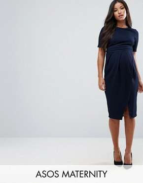 photo Double Layer Textured Smart Dress by ASOS Maternity, color Navy - Image 1