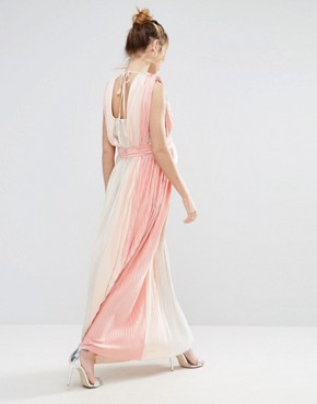 photo Pastel Stripe Deep Plunge Pleated Maxi Dress by ASOS Maternity, color Pink - Image 2