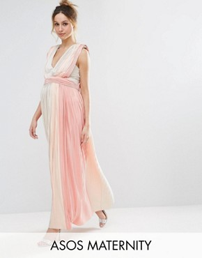 photo Pastel Stripe Deep Plunge Pleated Maxi Dress by ASOS Maternity, color Pink - Image 1