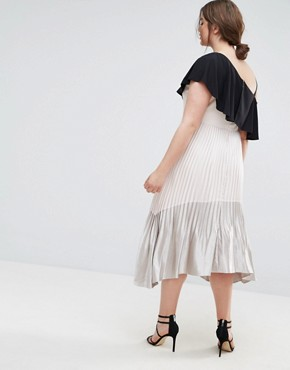 photo Tonya Pleated Metallic Maxi Dress with Hi Lo Hem by Coast Plus, color Cream - Image 2